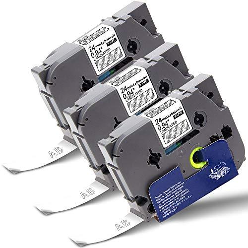 Labelwell P-Touch Schriftband 24mm x 8m TZe-155 TZe155 TZ-155 Weiß auf Transparent Laminiert für Brother PTouch PT 1000 D450VP E300VP E500VP P900W P950NW D600VP P750W H500LI Beschriftungsgerät