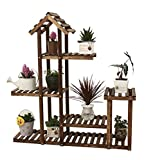 LX étagère à fleurs Massivholz Blumen Regale Boden - Stil Multi - Level High und Low Bonsai Regal Balkon Grün Rettich Wohnzimmer Indoor und Outdoor Flower Pot Rack Rack de rangement Support de pots intérieur extéri ( Farbe : A-1 )