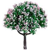 20Pcs 2.5 Inch Scenery Landscape Train Model Trees w/ Pink Flowers - Scale 1/100