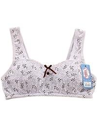 Young Girls Training Bras babysbreath cotton crop top B sport bra Yoga jogging bra White 32A
