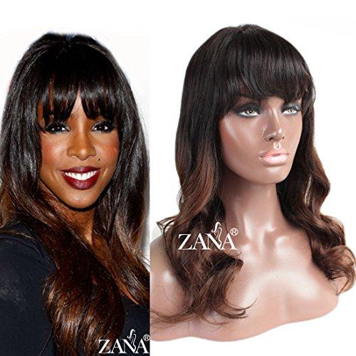 100% brasilianisches Remy Body Wave Human Hair Lace Perücken Lace Front Perücken mit Pony Natürlich Aussehende frei Teil Stil Zwei Ton Perücke Farbe 1B/30 (Remy Perücken Mit Pony)