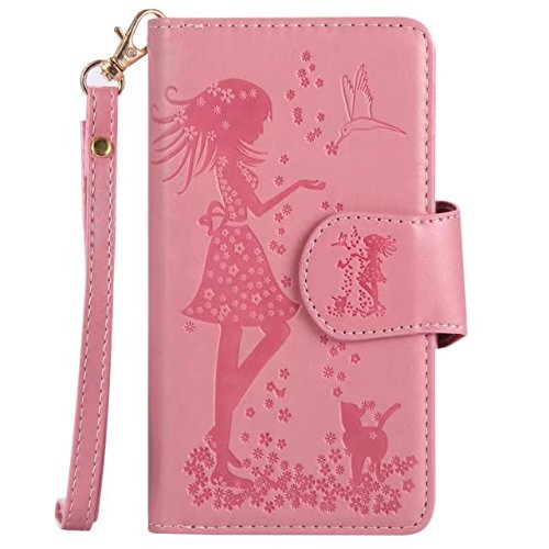 Retro Art prägte feenhafte Mädchen-Faux-Leder-Kasten-Abdeckung mit großen Kapazitäts-9 Karten-Schlitzen und Lanyard für iPhone X ( Color : Purple ) Pink