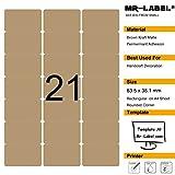 Mr-Label 525 en blanco etiquetas de café Kraft - 63.5x38.1mm - Para láser y de inyección de tinta de impresora - 25 hojas