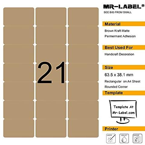 Mr-Label 525 Blank Brown Kraft Labels - 63.5x38.1mm - Pour Laser et Jet d'encre - 25 feuilles