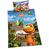 Herding 4461027064Dino de tren Juego de cama, algodón, multicolor, 160x 210cm