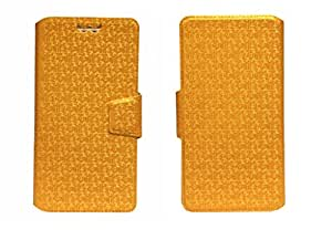 J Cover Aafreen Series Leather Pouch Flip Case With Silicon Holder For BSNL Penta Smart PS501 Golden