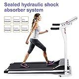 mymotto Mini Fitness Laufband Klappbar Elektrisches Fitnessgerät mit LCD Display 125 x 59,9 x 107cm Dämpfungssystem(Schwarz/Weiß/Orange) (Weiß)