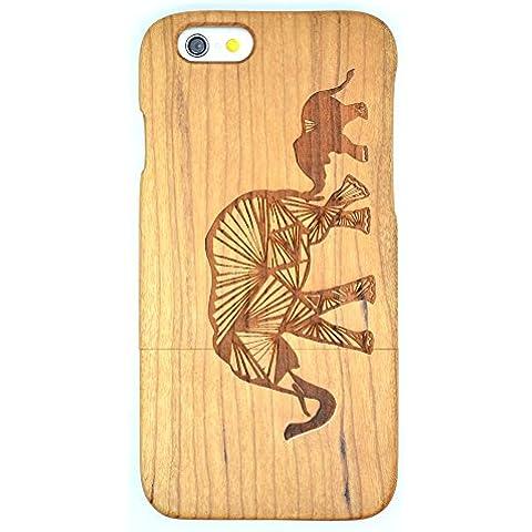 Cassa di Legno di iPhone 6S Plus(5.5 inch), PhantomSky[Serie di Lusso] Qualit à Premium Cover in Bambù / Legno Naturale con Gratis Paraschiena Schermo per il tuoSmartphone - Elefante di Legno Ciliegio(Cherry Wood Elephant)