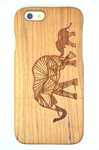 Cassa di Legno di iPhone 6 (4.7 inch), PhantomSky[Serie di Lusso] Qualit à Premium Cover in Bambù / Legno Naturale con Gratis Paraschiena Schermo per il tuoSmartphone - Elefante di Legno Ciliegio(Cherry Wood Elephant)