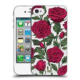 Head Case Designs Rote Variante Rosen Und Wildblumen Soft Gel Hülle für iPhone 4 / iPhone 4S