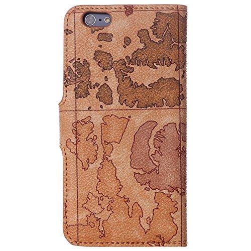 Wkae Case Cover Weltkarte Muster Horizontal Flip Ledertasche mit Halter für iPhone 6 &6S, gelegentliche Anlieferung ( Color : Coffee ) Coffee