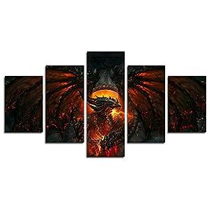 Leyruk 5 Stück World of Warcraft Cataclysm Gemälde für Wohnzimmer Wohnkultur Leinwand Kunst Wand Poster (kein Rahmen) ungerahmt HD045 50 inch x30 inch