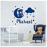 jqpwan Personalized Boys Name Wall Decals Teddy Bear Vinyl Home Decor Kids Room Nursery Stickers Month StarsName Clouds 57 * 45Cm