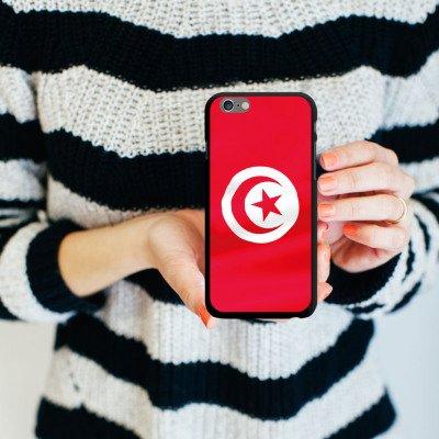 Apple iPhone 6 Housse Étui Silicone Coque Protection Tunisie Drapeau Drapeau CasDur noir
