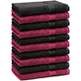 Betz Paquete de 10 piezas de toallas cara Juego tamaño 30x30 cm 100% algodón PREMIUM toallas para la cara Paño de color rojo oscuro y negro