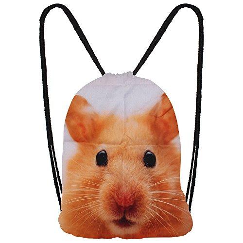 Hanessa Jutebeutel mit Hamster Tier Aufdruck Sportbeutel Tüte Rucksack Beutel Tasche Gym Bag Gymsack Hipster Fashion Sport-tasche Einkaufs-tasche (Hamster Tasche)