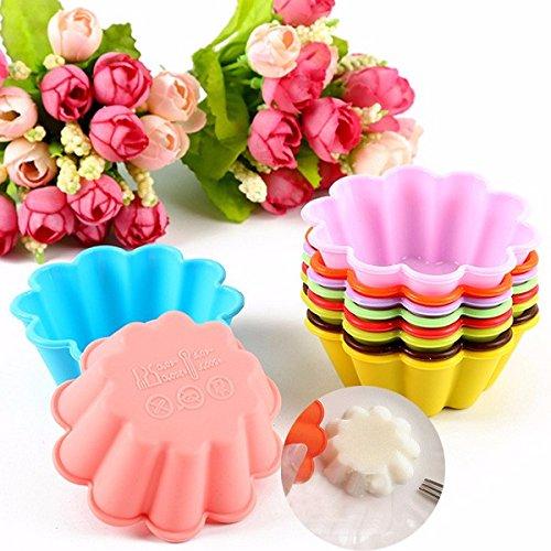 Aliciashouse 10Pcs Silicone Fiore Forma Torta Stampo Stampo Budino Muffin Stampo di Cottura