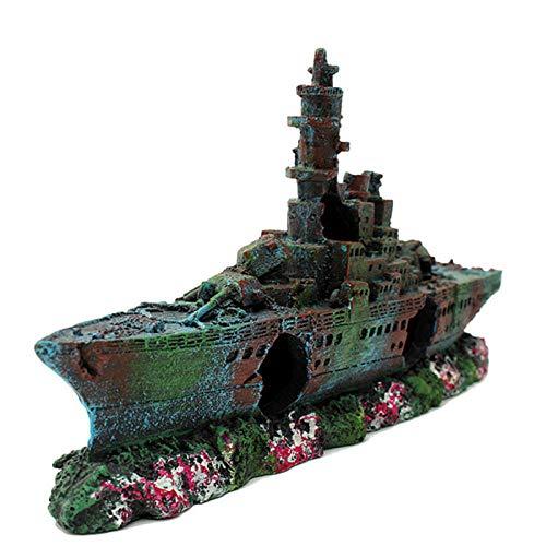 Guooe Aquarium Deko, Harz Künstliche Aquarium Versenktes Schiff Wrack Dekoration Navy Destroyer Schiff Aquarium Versenktes Boot Ornament Versteckt Für Fisch Garnelen