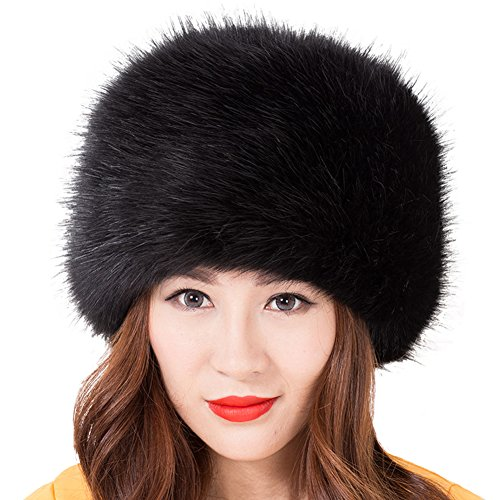 tyle-Pelz-Winter-Cap-warmer Hut für Frauen - Schwarz (Russische Faux Pelz Hut)