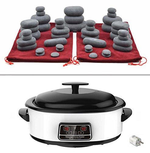 Steine Set Massage (MassageMaster HOT STONE MASSAGE KIT: 45 Basalt Steine in 2 Kordelzugtaschen, Wärmegerät 6 Liter mit digital Temperaturanzeige)