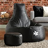 i-eX® Gaming Chair Faux Leather with FREE Footstool - Man Size Gaming Bean Bag (Steel/Black)