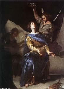 Peinture à l'huile - 14 x 20 inches / 36 x 51 CM - Bernardo Cavallino - L extase de Sainte-Cécile...