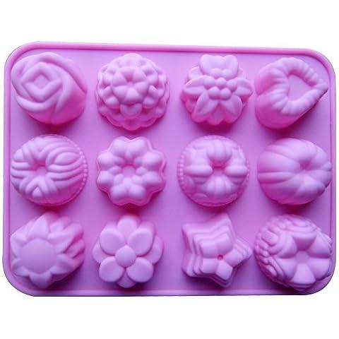 Dansuet 12 Cavit¨¤ antiaderente Fiori del gel del silicone muffa della torta di cioccolato della muffa del mestiere Candy sapone Bakeware fai da te, fiori del gel del silicone della muffa della torta per le donne