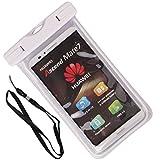 Zewoo Wasserfeste Handyhülle für Smartphones bis zu 5,7 Zoll, Wiko Lenny / Lenny 2 / Bloom / Bloom 2 / Pulp 3G / Pulp Fab 4G / Cink Five / Cink Peax / Cink Peax 2 Tasche beachbag mit Halsband leuchtende Handytasche