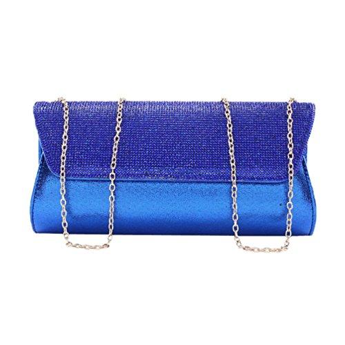 Damara Femme Sac De Soirée Fête Mariage Strass Bouton Magnétique Bleu