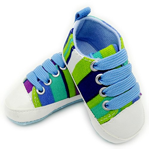 Leap Frog  Stripe Sneakers, Baby Mädchen Lauflernschuhe Blau