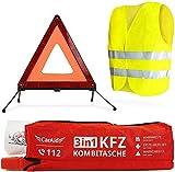 CarAid Premium 3in1 Kombitasche   Warndreieck, Verbandskasten, Warnweste - Deutsche Norm - Erste Hilfe Set für Autos