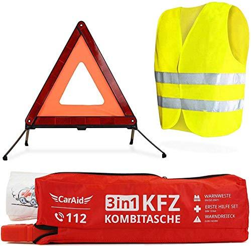 CarAid 3-1 Erste-Hilfe Set-Auto, Warndreieck-KFZ, Verbandskasten, Warnweste
