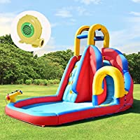 COSTWAY Inflatable Bouncy Castle Jumper House Water Pool Slide Activity Center for Kids with Water Slide, Climbing Wall and Pool Area