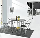 Foldable Dining Table and 4 Chairs Set Coavas 5Pcs Butterfly Kitchen Folding Dining Table and Chair Set,Black