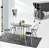 coavas Kleiner Esstisch und 4 Stühle Set 5Pcs Butterfly Kitchen Folding Esstisch und Stuhl Set, Schwarz
