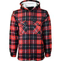 New Mens Padded Hooded Shirt Polar Fleece Fur Lined Work Shirts Winter Warm Hoody M L XL XXL
