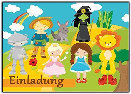 Einladung Alice im Wunderland Zauberer von Oz Einaldungskarten Kindergeburtstag Musical - 12 Stück Geburtstagseinladung Abenteuer (Schwarz Zauberer Von Oz)