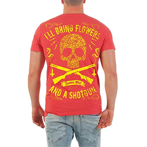 Männer und Herren T-Shirt El Loco SHOTGUN (mit Rückendruck) Größe S - 8XL V-Neck rot meliert
