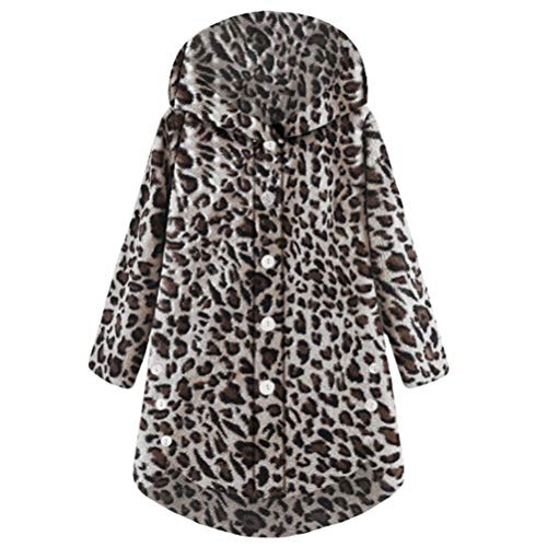 Bluelucon Damen Strickjacke Freizeit Leopard Sweater Kimono Cardigan -