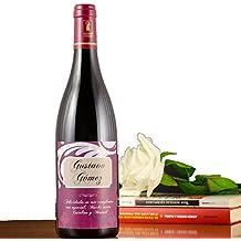 Regalo personalizable: botella de vino con etiqueta personalizada con el nombre, apellido y dedicatoria