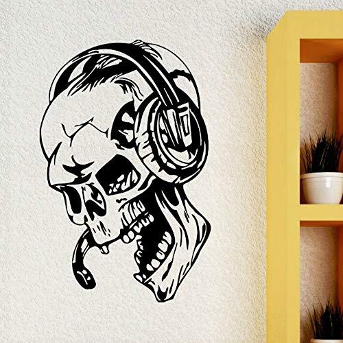 JXTK Gamer Stickers Muraux Crâne Musique Casque Sticker Style de Jeu Vidéo Style Maison Garçons Chambre Décoration Amovible Gamer Fond D'écran 42x64cm
