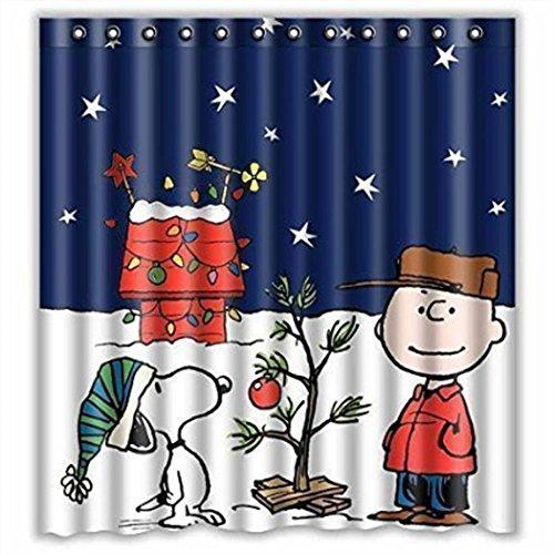 sunnymi Karikatur Xmas Wasserdichte Duschvorhänge 165x180cm★Gewohnheit Frohe Weihnachten Stoff/Einfach Zu Reinigen Nicht Verblassen/Anti-Bakterien Und Mildewproof Duschvorhang Größe (Frohe Weihnachten Stoff)