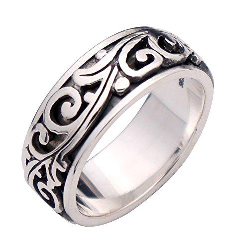 FORFOX Herren Damen Vintage Schwarz 925 Sterling Silber Rebe & Blätter Spinner Ring Band 9mm Größe 60 (Silber Sterling Mens Ring Größe 9)
