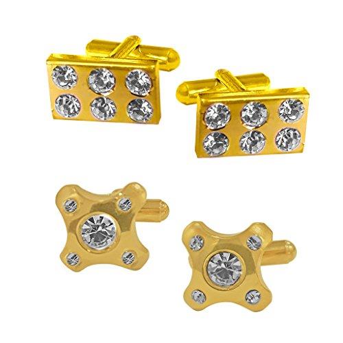 Sri Jagdamba Pearls Set Of 2 Golden Cufflinks image