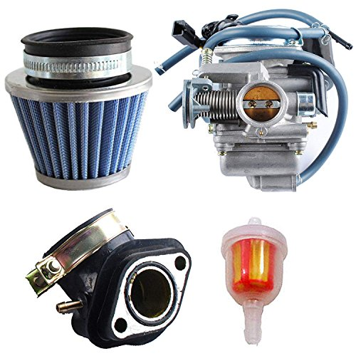 oxoxo replace 150cc carburetor gy6 26mm carb with air filter intake  manifold fuel filter kit for