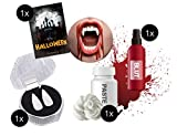 TK Gruppe Timo Klingler Vampir Dracula Set Blutsauger Halloween mit Kunstblut, Vampirzähne, Abformmasse ALS Kostüm für Halloween (Dracula Set)