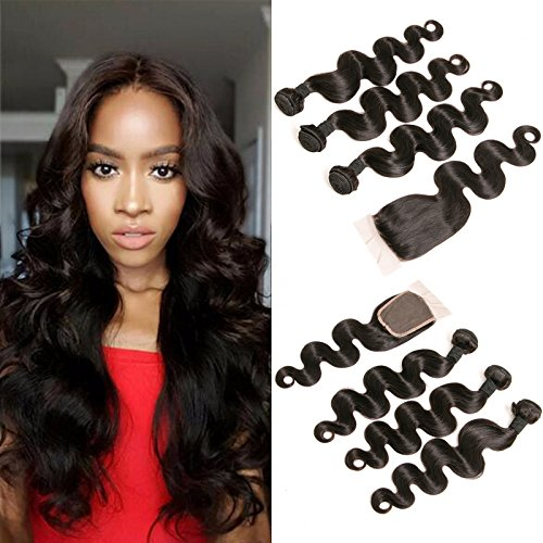 DAIMER Body Wave Weave with Closure 3 Bundle of Virgin Hair with...