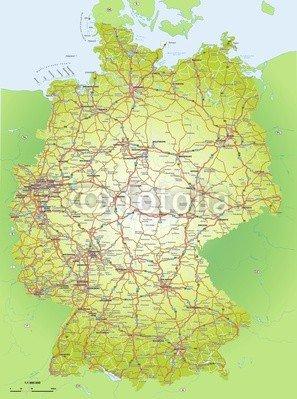 """Leinwand-Bild 60 x 80 cm: \""""Deutschlandkarte 1:1,6 Mio\"""", Bild auf Leinwand"""