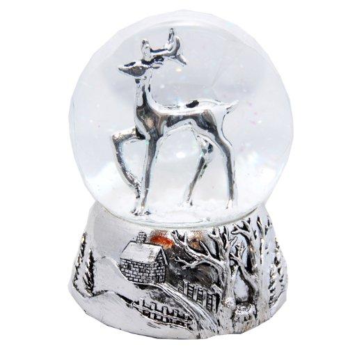 Minium Collection 20040 Schneekugel REH Silber Silber-Sockel Landschaft mit Spieluhr White Christmas...