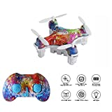 Cellstar Mini RC Quadcopter CX-10D Small Drone with Altitude Hold and 3D Flpis 2.4Ghz 6-Axis Gyro 4 Channels Nano Drone Rechargeable Helicopter with Protective Case for Kids and Beginners (Rainbow)